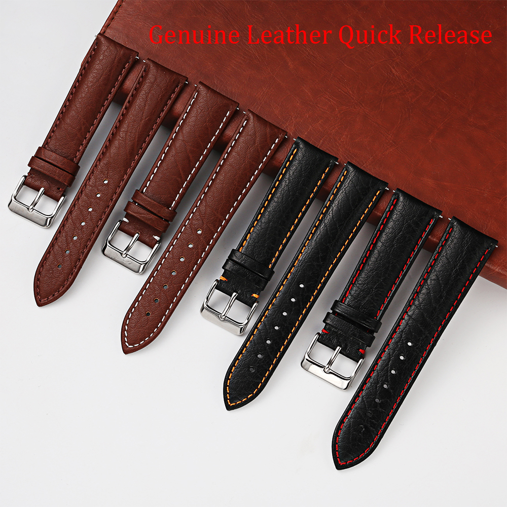 20 22mm Genuine Cowhide Leather Watch Strap Men Women Brown Black Quick Release Springbar Watchband Remove Tool for free