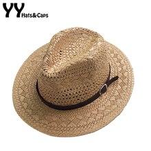 Летние повседневные солнцезащитные кепки для женщин, модная джазовая шляпа, мужская пляжная мягкая фетровая шляпа от солнца, Соломенная Панама, шляпа с полым поясом, солнцезащитный козырек, шапки YY18085