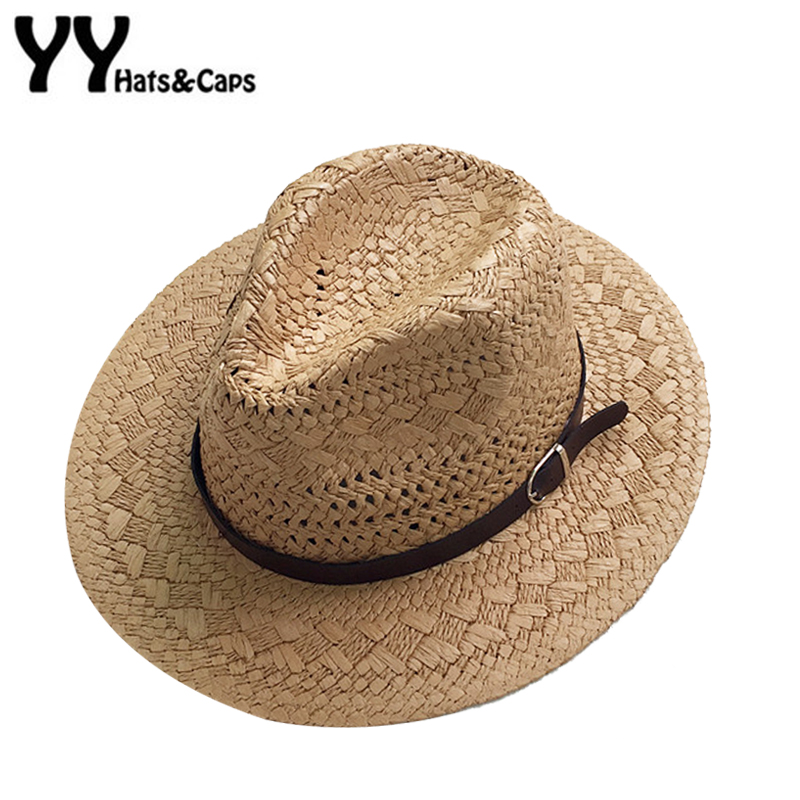 Summer Casual Sun Hats For Women Fashion Jazz Hat Man Beach Trilby Sunhat Straw Panama Hat Hollow Belt Sun Visor Caps YY18085
