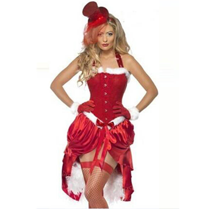 Fun Faux Fur Trim Santa Burlesque Costume 2015 Fashion Sexy Lady's Red Color Christmas Dance Costume L70919