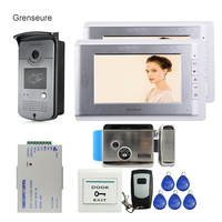 Free Shipping New Home 7 TFT Video Intercom Door Phone System 2 Monitors RFID Access Door
