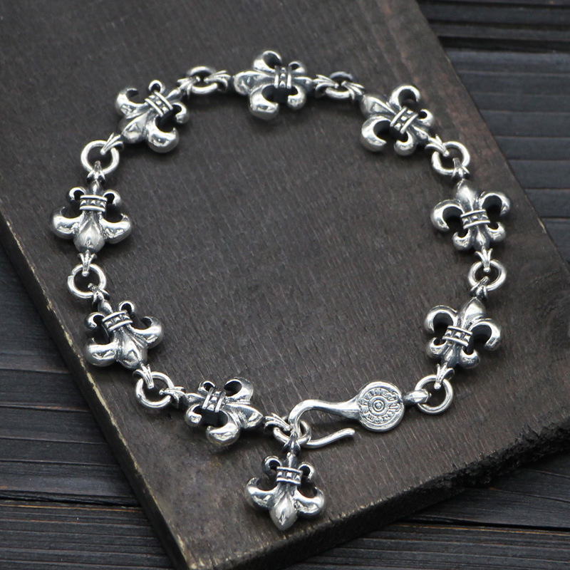 Starfield S925 Sterling Silver Retro Thai Silver Navy Style Silver Flower Male Female Bracelet wholesale s925 sterling silver personalized jewelry retro thai silver male smooth side buckle bracelet