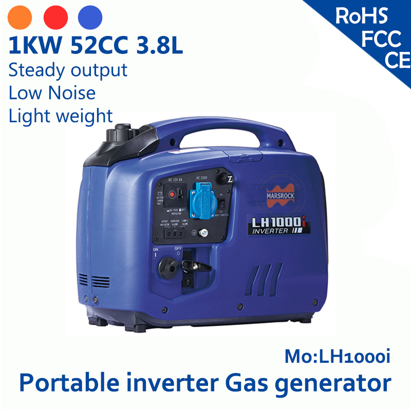 1KW 52cc 3.8L 120 V 230 V Portable inverter gas generator overload low oil alarm