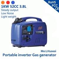1kw 52cc 3.8l 120 В или 230 В Портативный генератор инвертора газа перегрузки и низкая Нефть Сигнализация устойчивый выход и низкая Шум и легкий вес