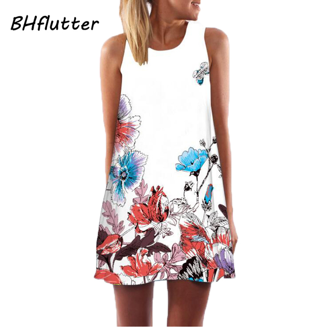 BHflutter Women Dress New 2018 Summer Style Short Dress Floral Print Casual Woman Chiffon Dresses Boho Beach Dresses Vestidos 3