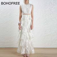 BOHOFREE Runway White Lace Long Dress Hollow Out Floral Lace Embroidery Vestidos Female Frill Dress Tunic High Waist Party Dress