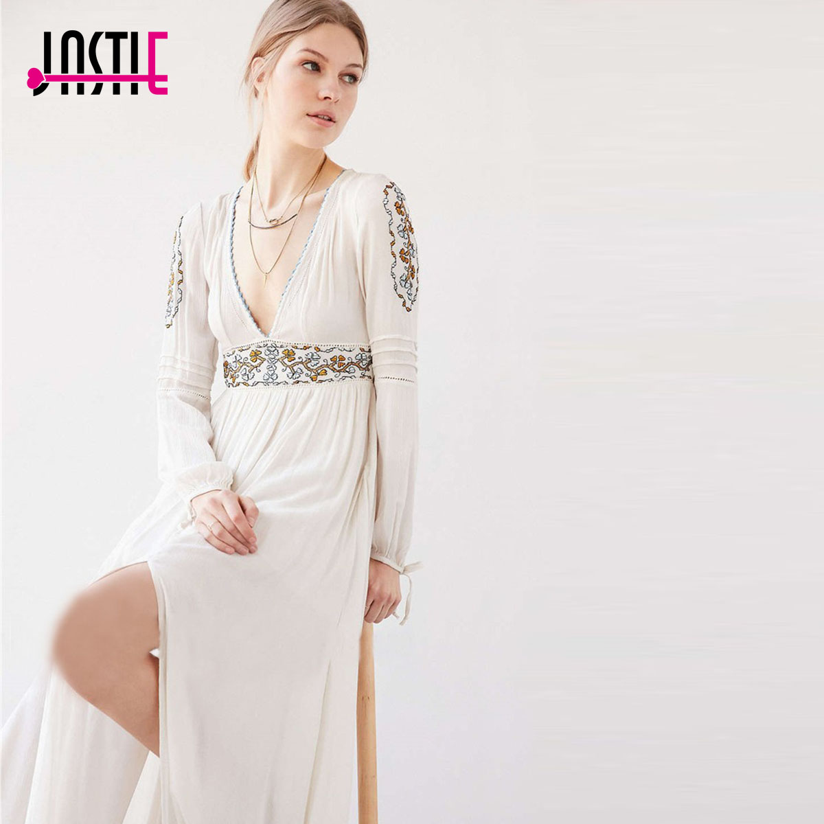 Manches Robe Parti En Slits Broderie Sexy Encolure Maxi V White Femmes Floral Robes Ouvert Bohème Élégant À Boho Longues OXPTkZui