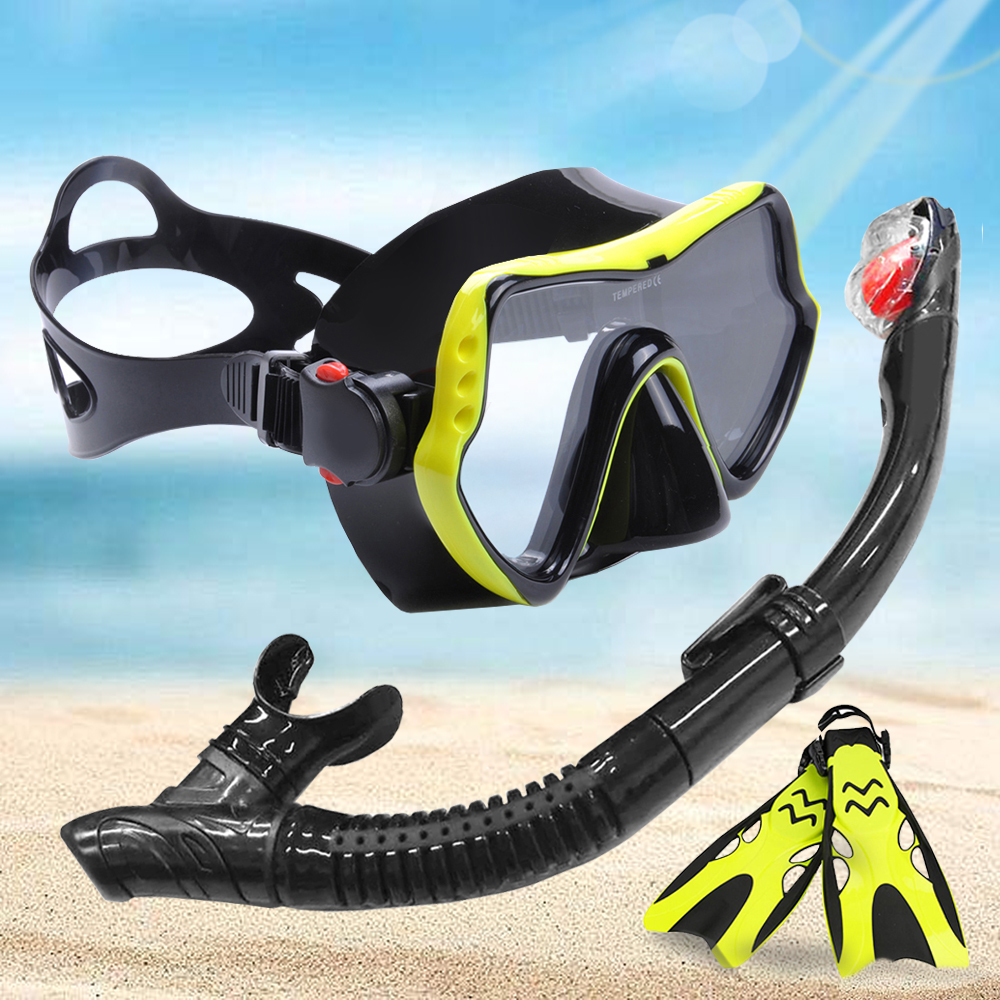YFXcreate Professional Anti-Fog Scuba Diving Goggles Mask / Easy Breath Tube Snorkel / 2 Sizes Fins With Adjustable Heel