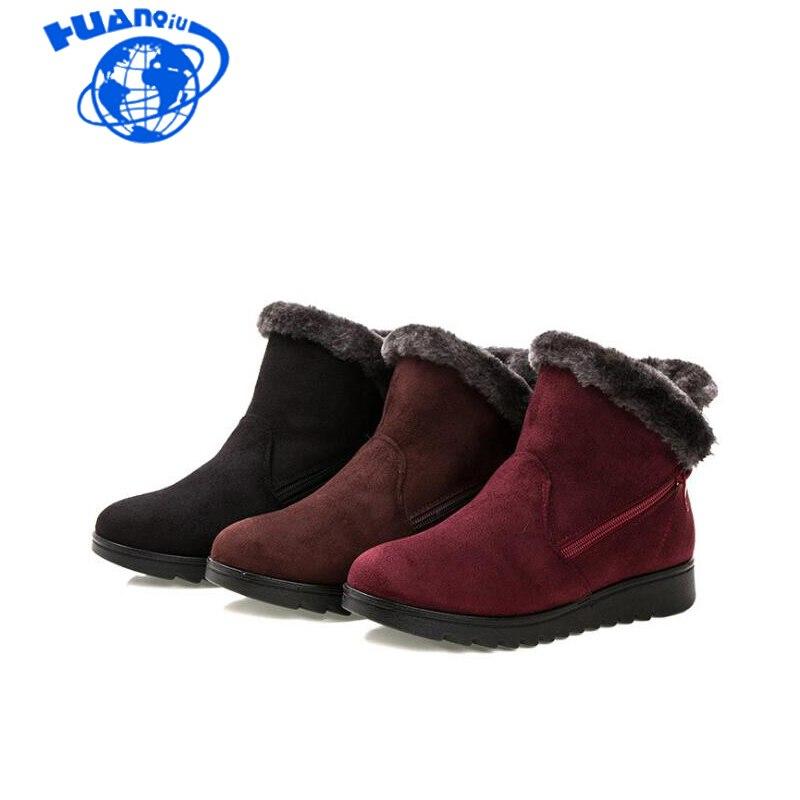 779c7fcb8f HUANQIU Mulheres Ankle Boots Nova Moda Cunha Botas Plataforma da Neve do  Inverno Quente Sapatos À
