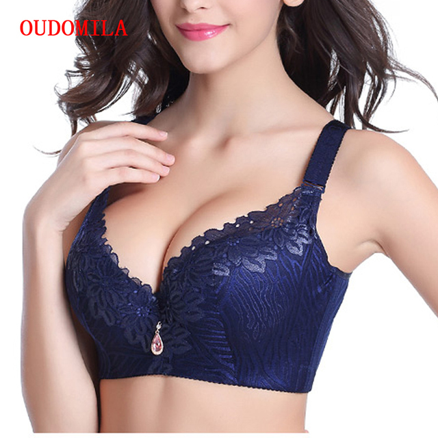 2104f37384eb6 OUDOMILAI Hot Push Up Bra Big Size Chest Sexy Deep V Brassiere Lace Bralette  large size lingerie D E Plus Size Bras For Women