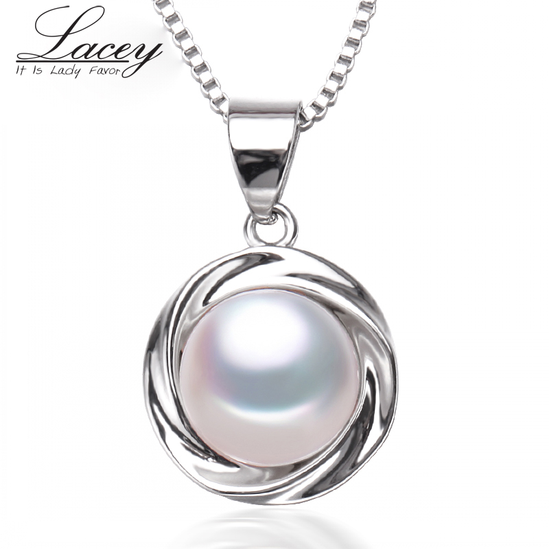 New fashion freshwater pearl pendant necklace women, real natural pearl pendant 925 silver girl birthday gifts white pink p12
