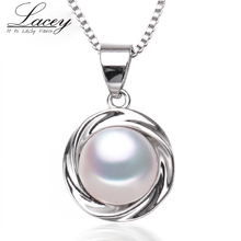 New fashion freshwater pearl pendant necklace women, real natural pearl pendant 925 silver girl birthday gifts white pink p12 2017 new arrival natural pink freshwater pearl and baby pink shell flower statement necklace for women