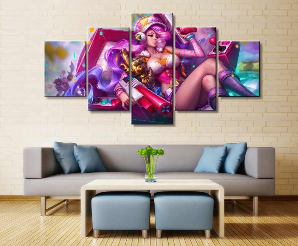 5Panel LOL League of Legends Miss Fortune Game Canvas Printed Painting For Living Room Wall Art Decor HD Picture Artworks Poster