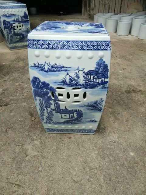 Antieke Witte Kaptafel.Blauw En Wit Antieke Kruk Voor Kaptafel Drum Kruk Chinese Porselein