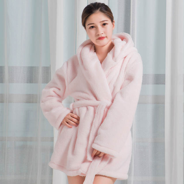 placeholder BabYoung 2018 Winter Women Robes Flannel Thick Long Sleeve  Cartoon Pink Unicorn Hooded Nightgown Warm Female 3137adffb