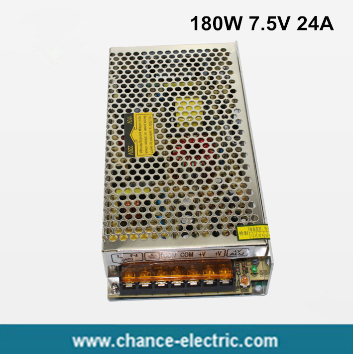 180W 7.5V 24A Single Output Switching power supply for LED Strip light AC to DC  (S-180W-7.5v) ac 85v 265v to 20 38v 600ma power supply driver adapter for led light lamp