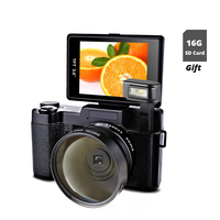 New 24MP Digital SLR Photo Camera Video Camcorder Wide Angle Lens Photo Cameras 1080P Digital Video Camera with 16G SD Card