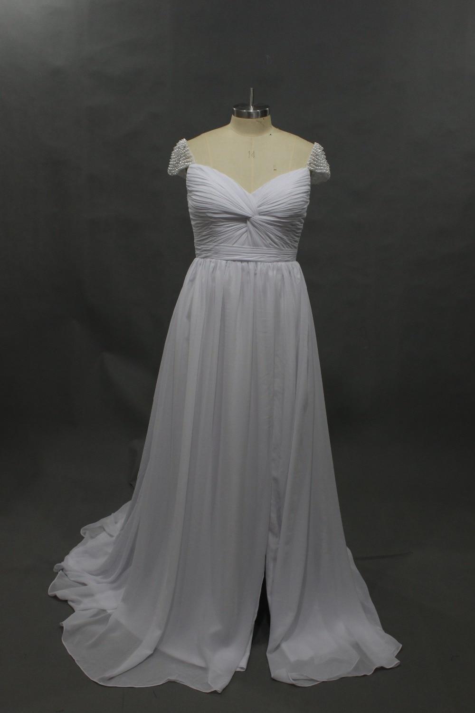 Chiffon Slit Boho Braut Brautkleider Country Western Stil Perlen ...