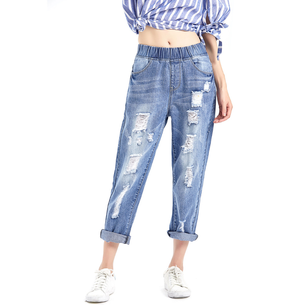 Boyfriend Jeans Harem Pants Women Trousers Casual Plus Size Loose Vintage Denim Pants Hole Ripped High Waist Jeans Women summer ripped hole jeans ankle length pants women high waist loose vintage harem denim pants plus size casual blue jeans female
