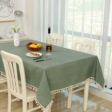 Dot Plaid Table Cloth Dinner Rectangular Antiderapant Tablecloth Home Kitchen Tischdecke Decor Stripe Table Cover Lace Tassel