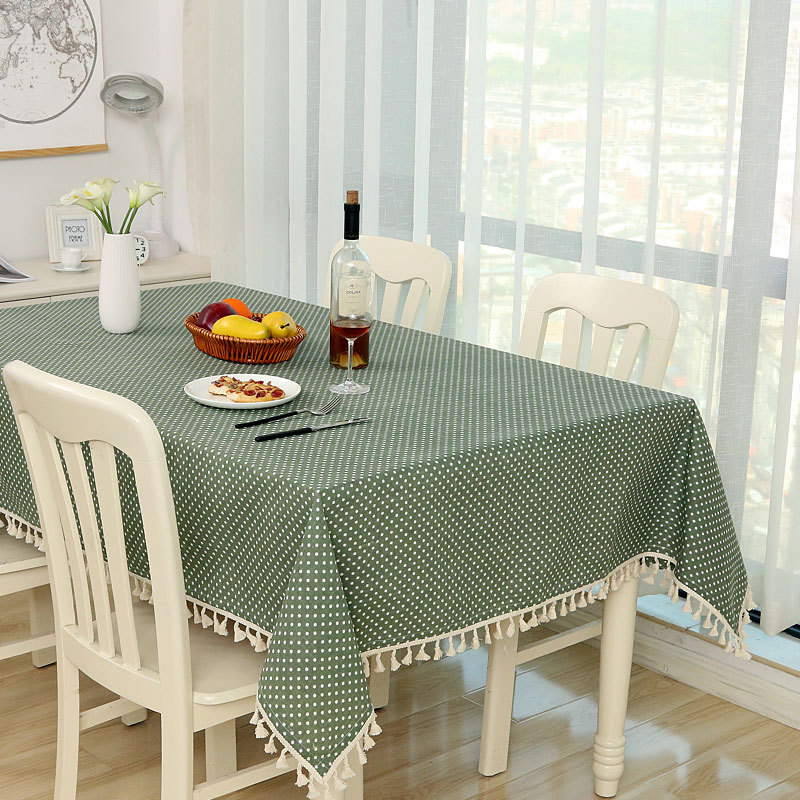 Dot Plaid Table Cloth Dinner Rectangular Antiderapant Tablecloth Home Kitchen Tischdecke Decor Stripe Table Cover Lace Tassel(China)