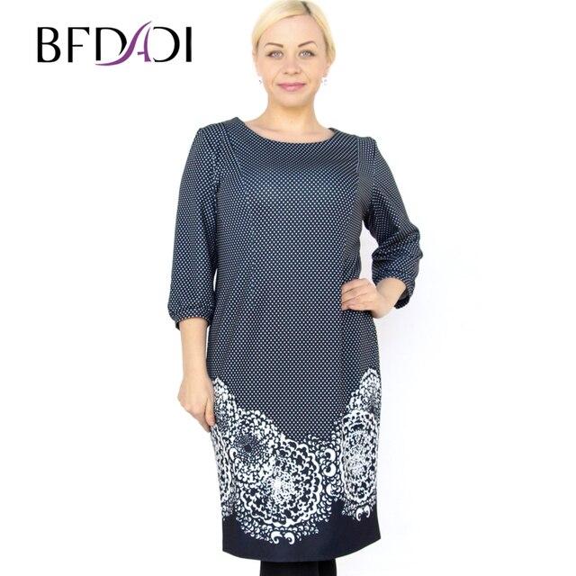 f7e592098a5c Bfdadi 2016 plus size elegante ufficio vestiti donna casual o-collo retro  modello di puntino