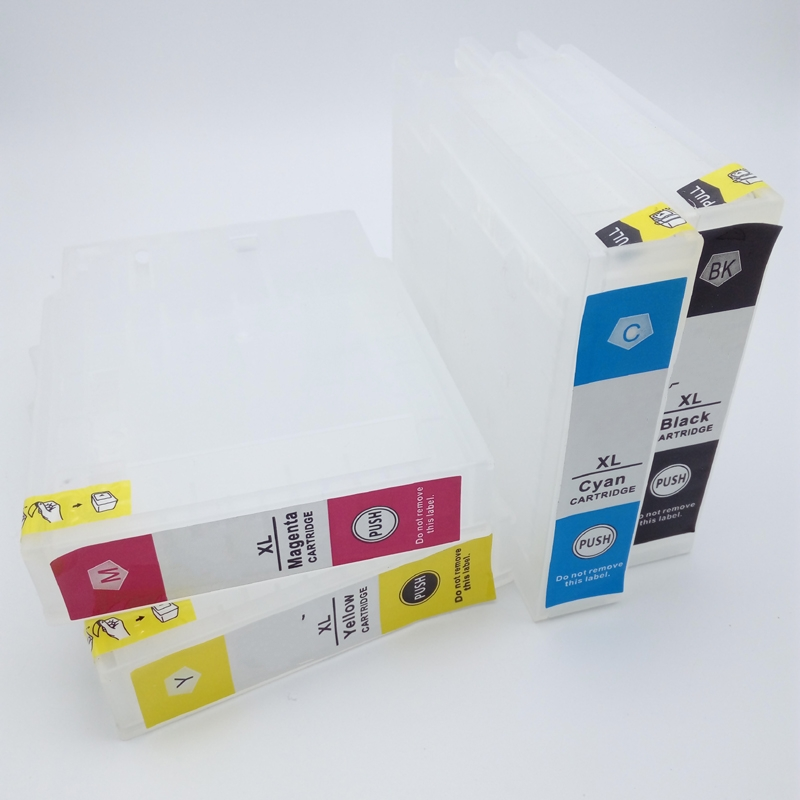 T9071 - T9074 T9081 - T9084 Refillable Ink Cartridge With One times Chip For Epson WorkForce Pro WF-6590 WF-6090 PrinrerT9071 - T9074 T9081 - T9084 Refillable Ink Cartridge With One times Chip For Epson WorkForce Pro WF-6590 WF-6090 Prinrer