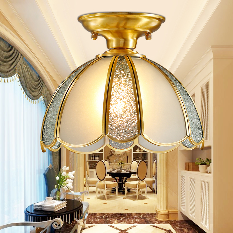 Fashion Copper ceiling light e27 glass lampshade for console balcony and coatroom