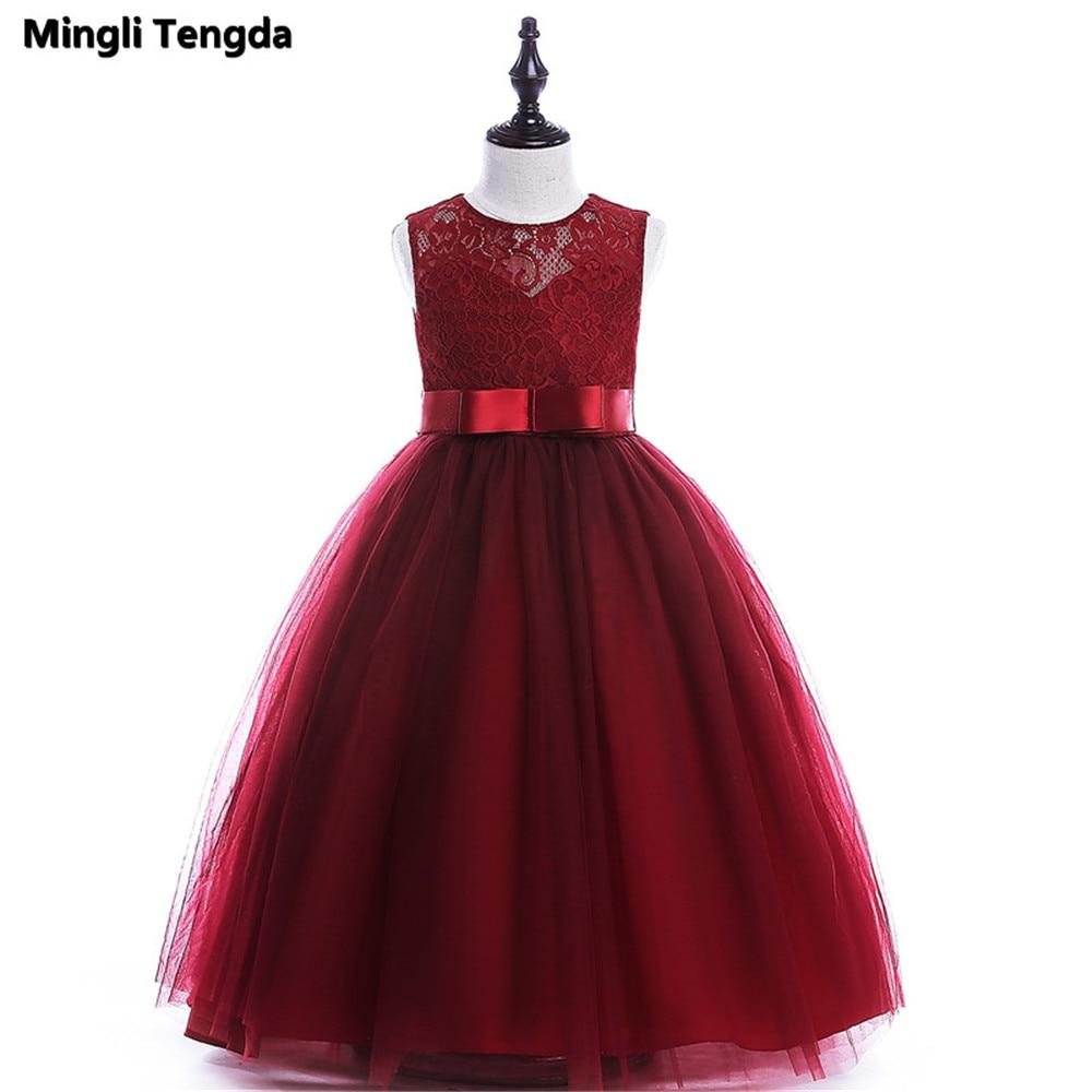 Long   Dress   for   Girl     Flower     Girl     Dresses   for Weddings Evening Child   Girl     Dress   Lace Sashes   Flower     Girl     Dresses   Mingli Tengda