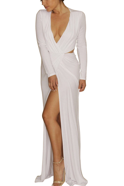 3b8913e3666 2015 Long Sleeve Deep V-neck High Cut Sexy Club Dress Women Side Split Long  Maxi Spring Dresses Sexy White Party Dress S9