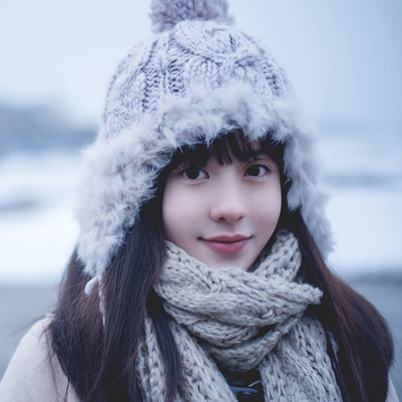 Winter women hat yarn thermal knitted ear rabbit fur ball autumn and winter women's hat winter thickening