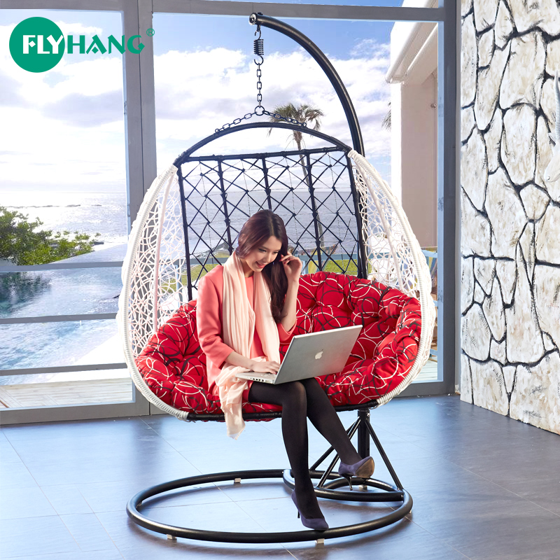 chaise lounge chairs indoor fisher price space saver high chair straps the new double hanging basket swing wicker rocking couple balcony outdoor ...