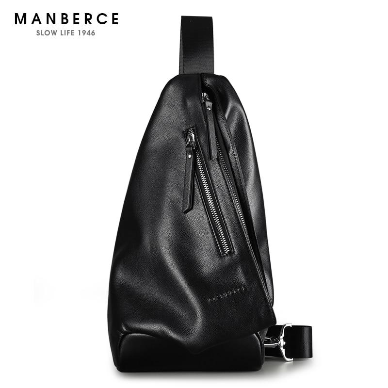MANBERCE Men Shoulder Bag Cowhide Messenger Bag Brand Men's Crossbody Beach Bag Travel Casual Riding Multifunctional Chest Pack