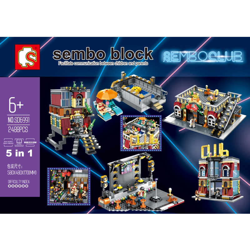 5in1 Nightclub bar Club Resort Hotel Streetscape USB lighting Building Blocks Bricks Compatible legoin Model toys Sembo SD6991
