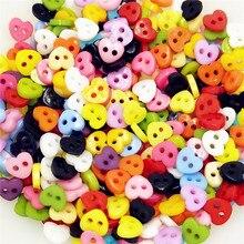 6 мм, 100 шт./лот, полимерная швейная мини кнопка, скрапбукинг, сердце, смешанные, 2 отверстия, Costura Botones bottoni botoes