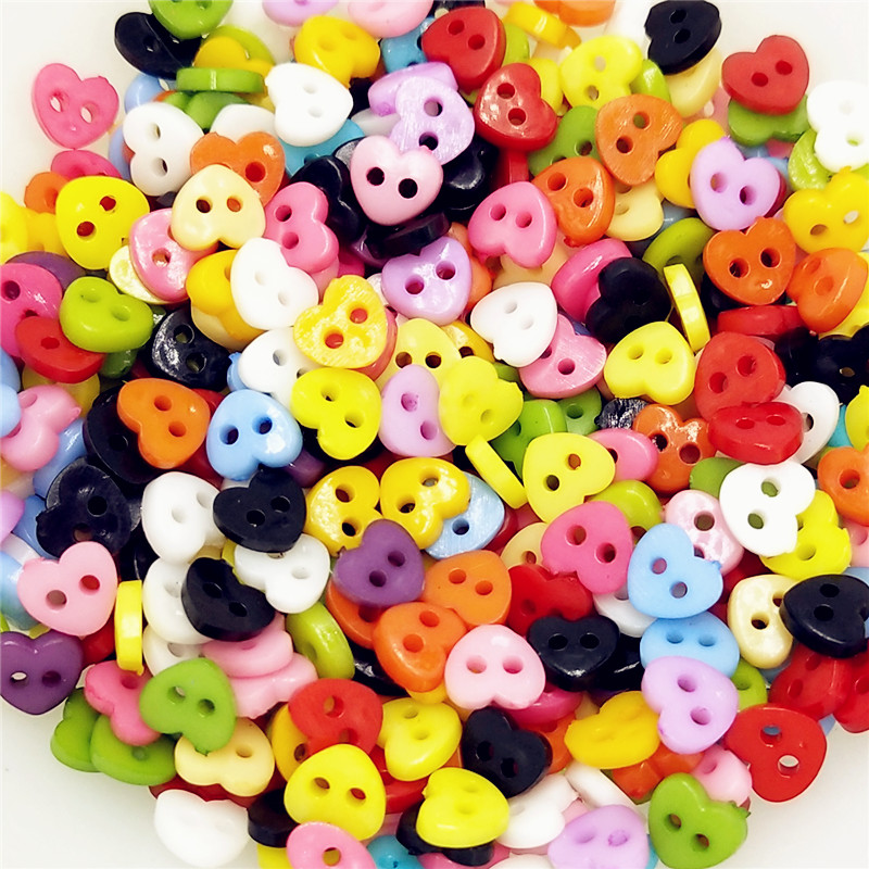 6mm 100PCs/lot  Resin Sewing Mini Button Scrapbooking Heart Mixed 2 Holes Costura Botones bottoni botoes