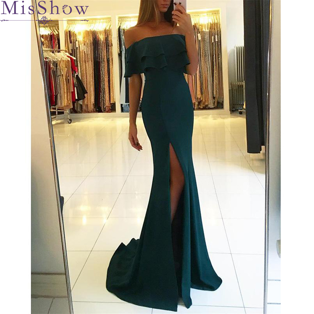 Robe De Soiree Boat Neck Long Mermaid   Bridesmaid     dress   Satin Backless Elegant Sexy Formal Green Wedding guest   dress   cheap