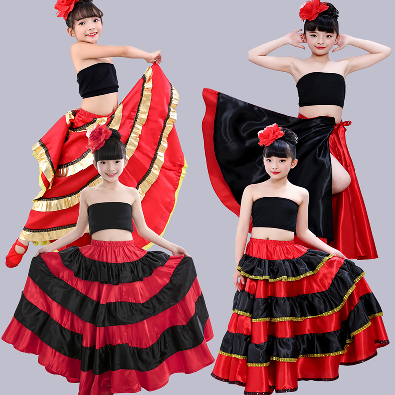Children's Stage Performance Clothing Spanish Bullfighting Skirt Big Dance Skirt Girl Big Swing Skirt Opening Sance Children's title=