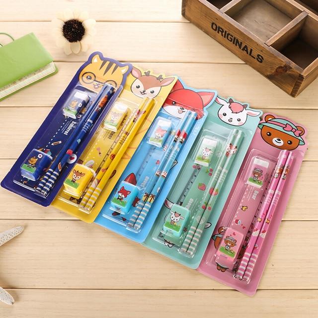 5pcs Pack Stationery Set Pencil Rubber Ruler Sharper Cute Cartoon Kids School Supplies