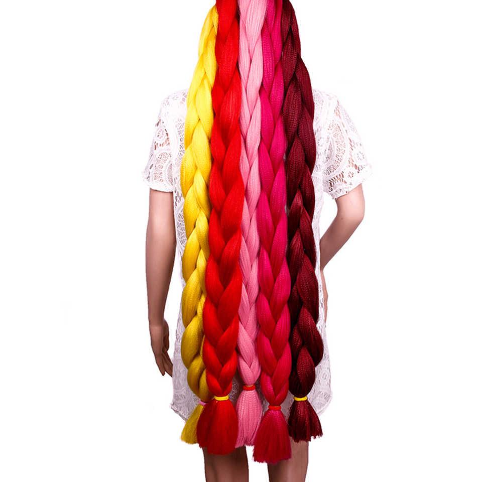 Весенний Солнечный плетение волос 82 дюйма синтетическое волокно Джамбо оплетка 165 г чистый цвет вязание крючком плетение волос для наращивания