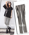 Fashion Black & White stripe color women leggings Good Stretchy Ladies trousers free shipping