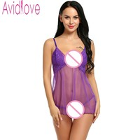 Avidlove Brand Sexy Women Sleep Dress Lingerie Sexy Hot Erotic See Through Nightdress Babydoll Lace Sleepwear