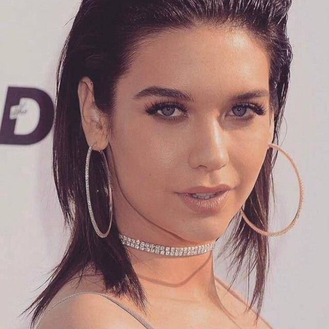 Meidi Large Hoop Earrings Full Rhinestone Elegant Women Jewelry Simple Circle For Las Silver And