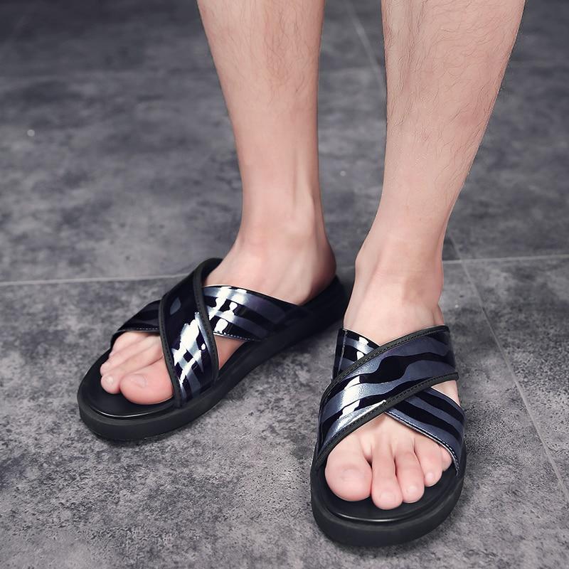 Slippers Marque Shoes Non slip De Plage Black Boucle Shoes Pantoufles Slipper Chaussures Cuir Hommes Tongs blue Sandales 2018 Walkerpeak En D'été Métal Mode Pour Véritable qwfSRTT