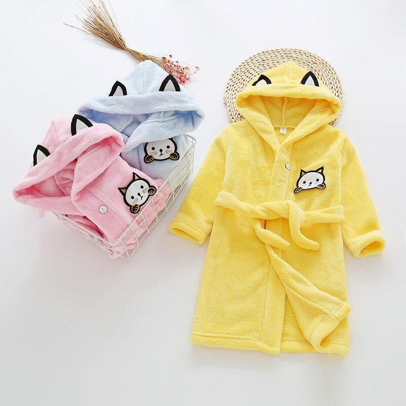 Children s Bathrobes Kids Hooded Robe Boy Girls Cartoon Bathrobe Teenager  Flannel Bathrobes Baby Beach Bath Robe Kids Sleepwear-in Robes from Mother    Kids ... 8ada66d90