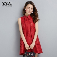 High Street Women 2018 New Fashion Embroidery Party Dresses Genuine Leather Top Quality Brand Female Robe Femme Sleeveless Dress