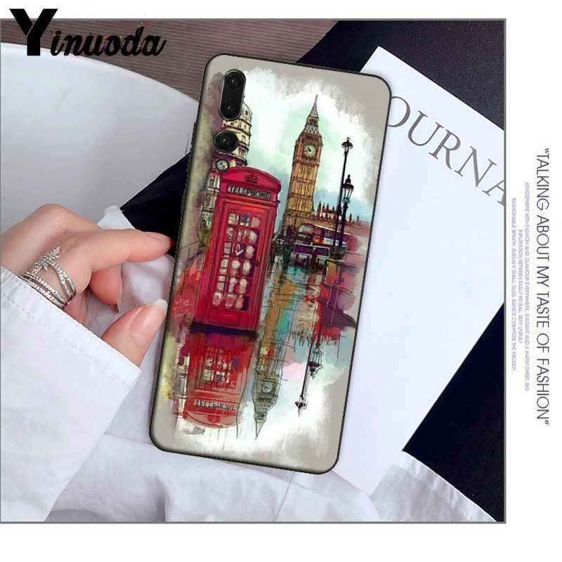 Yinuoda style londres bus angleterre téléphone vintage téléphone portable étui pour huawei Mate10 Lite P20 Pro P9 P10 Plus View 10