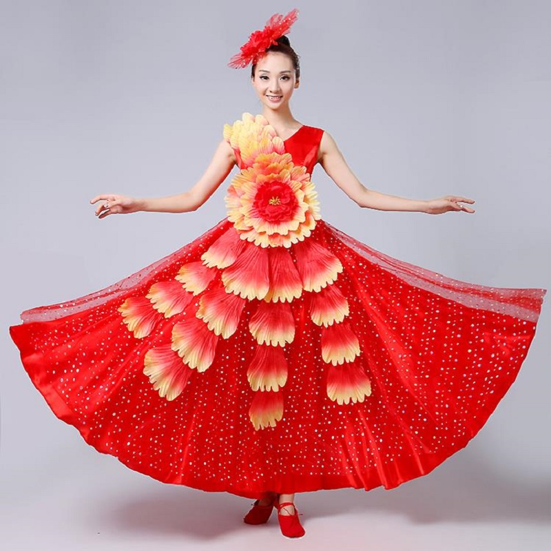 Ms Stage & Dance Wear Novelty & Special Use Opening Dance Big Swing Skirt Adult Female Long Skirt Performance Costume Stage Costumes With Dance Clothes Chorus Clothing Modern And Elegant In Fashion
