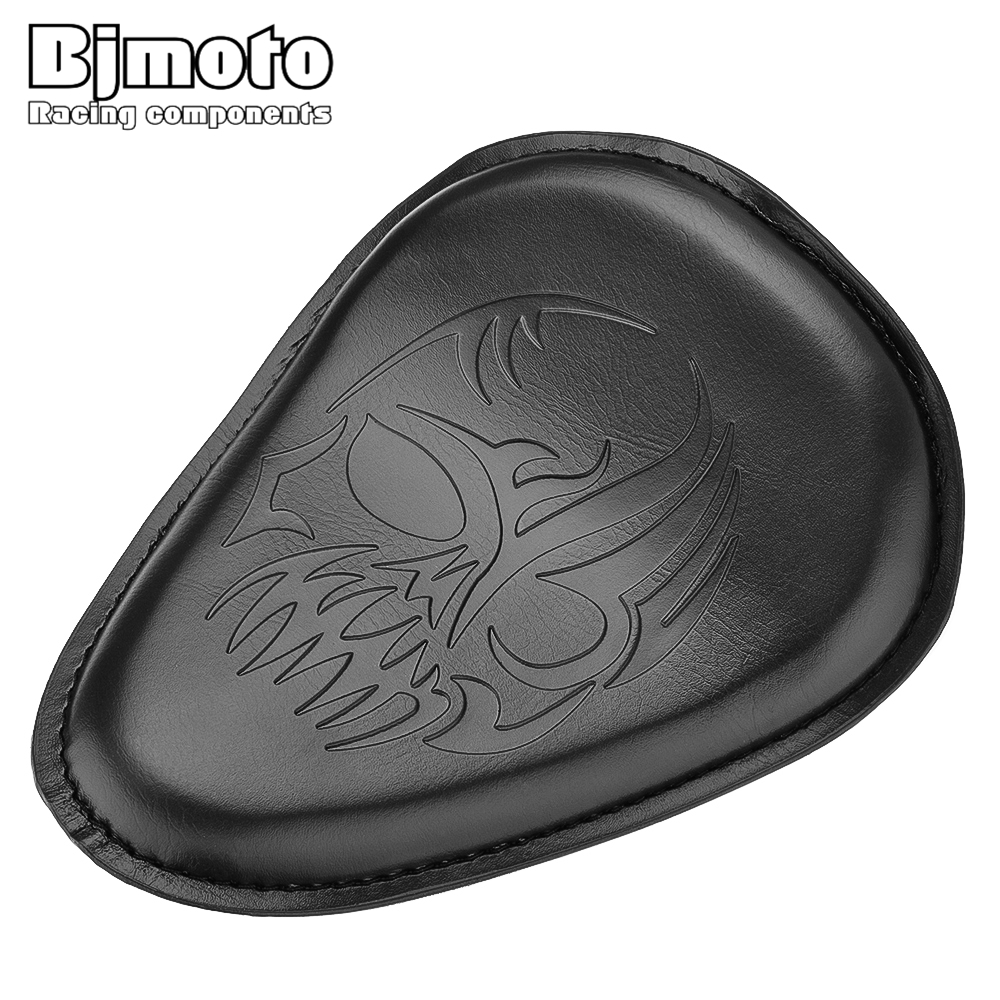 BJMOTO Cool Skull Motorcycle Leather Solo Slim Seat Cover Pad For Harley Sportster Bobber Chopper Custom