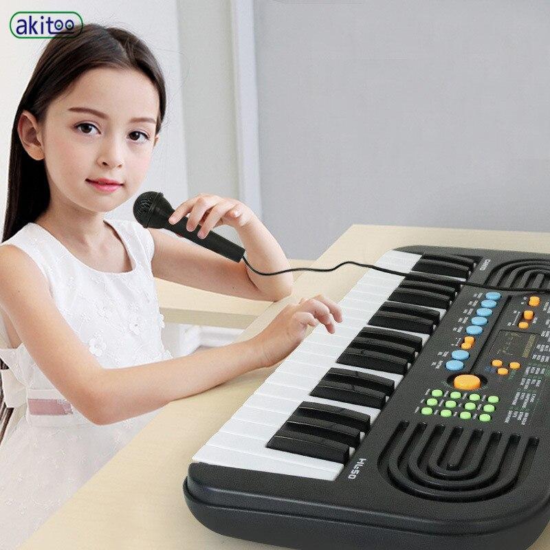 Akitoo jouet musical pour enfants 37 clés haute qualité noir et blanc clavier électronique double mode d'alimentation avec microphone #402